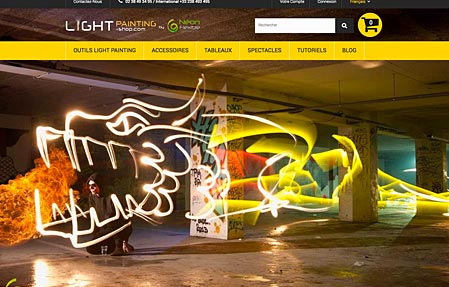 Capture d'écran du site LIGHTPAINTING-SHOP.com