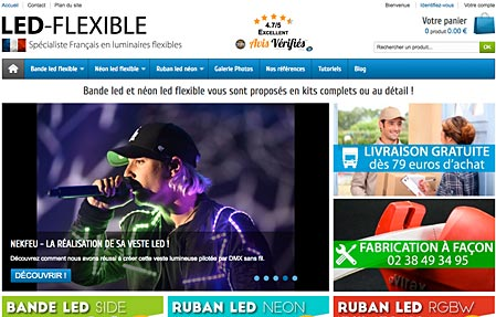 Capture d'écran du site LED-FLEXIBLE.com
