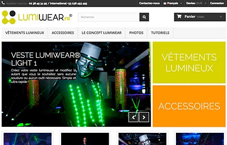 Capture d'écran du site LUMIWEAR.fr